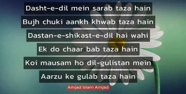 Amjad Islam Amjad Shayri in Hindi
