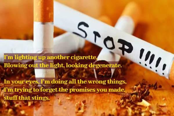 धूम्रपान निषेध दिवस पर अंग्रेजी में कविता