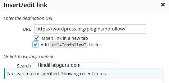 add nofollow links to wordpress