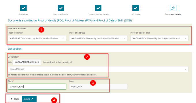 submit document in online pan card