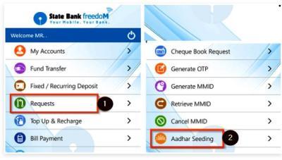 Freedom app with aadhaar card link