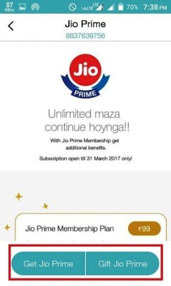 get jio prime offer