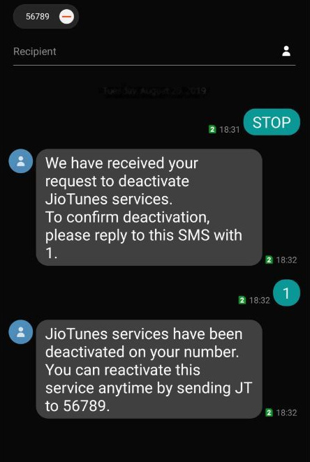 Stop Jio Caller Tune by SMS