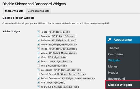 WordPress में Unwanted Widgets को Disable कैसे करें
