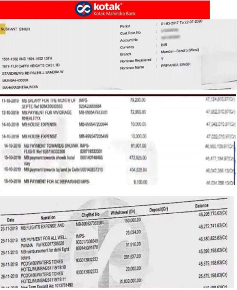 सामने आई सुशांत सिंह के अकाउंट की डिटेल, जानिए कब-कब निकले कितने रुपये