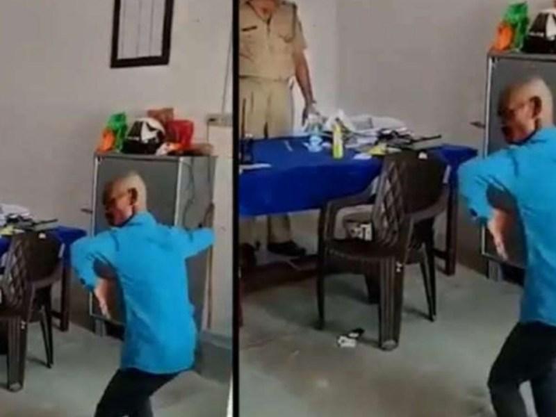 सपना चौधरी के गाने पर उत्तर प्रदेश पुलिस ने युवक का बना दिया मोर, वीडियो वायरल