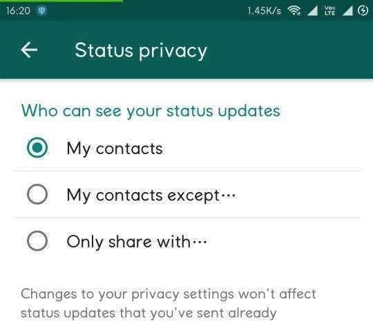 वॉट्सऐप में किसी एक कॉन्टैक्ट से भी छुपा सकते हैं अपना स्टेटस, ये है तरीका