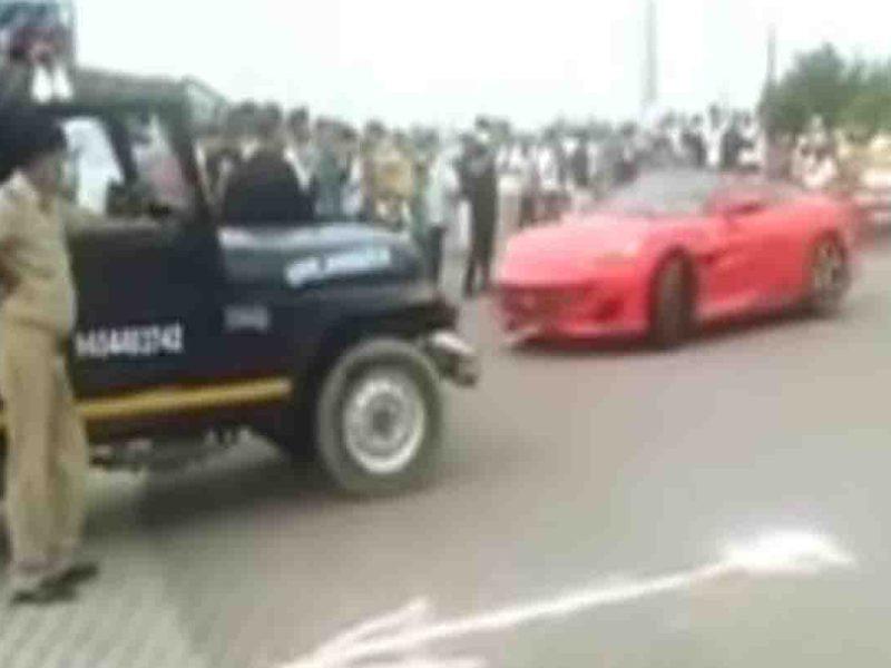 कानपुर में रईसजादे का पुलिस के सामने ही चौराहे पर फरारी से स्टंट, कार मालिक गिरफ्तार