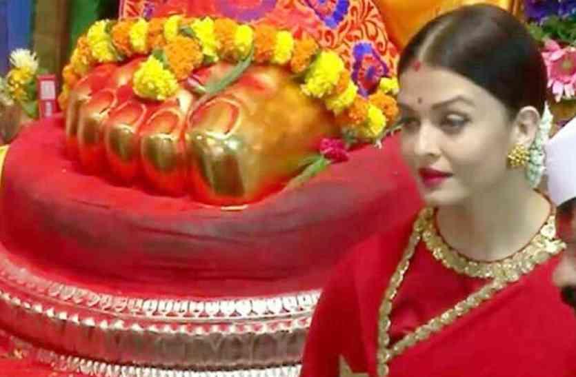 लाल साड़ी में गणपति बप्पा के दर्शन करने पहुंची ऐश्वर्या राय बच्चन, ट्रेडिशनल लुक में आईं नजर