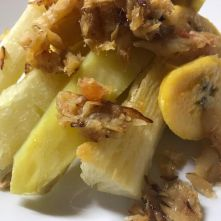 Hindoestaanse keuken heri heri batjauw telo cassave zoete banaan zoete aardappelen