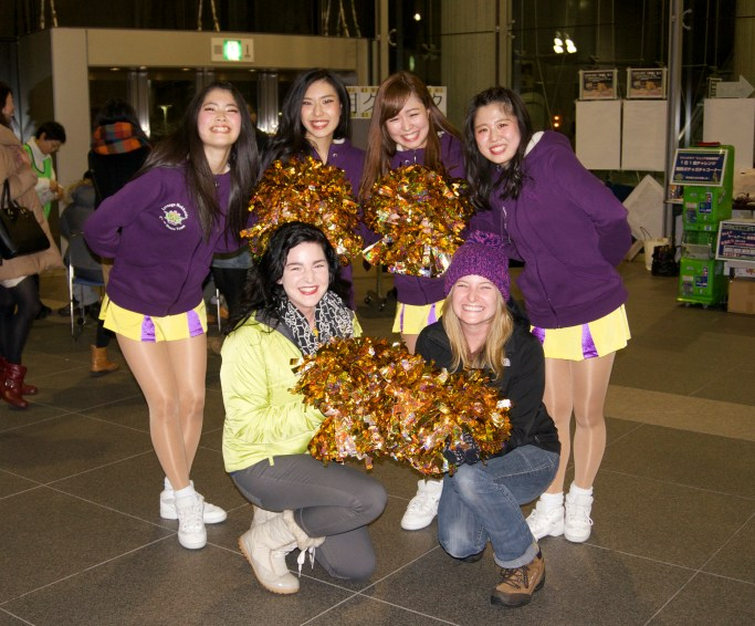 With the cheerleaders :)