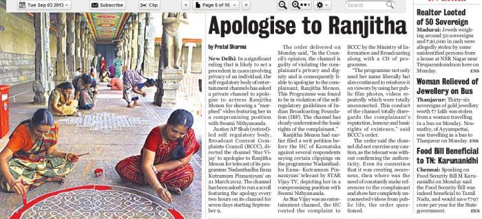 deccan chronicle - 3 sep 2013 - apologise to ranjitha full paper