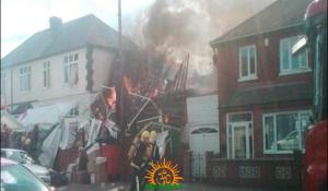 Massive fire accident in Leicester Harekrishna Temple near London in England