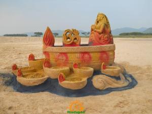 Diwali sand sculpture for 2011 by Tarani Misro