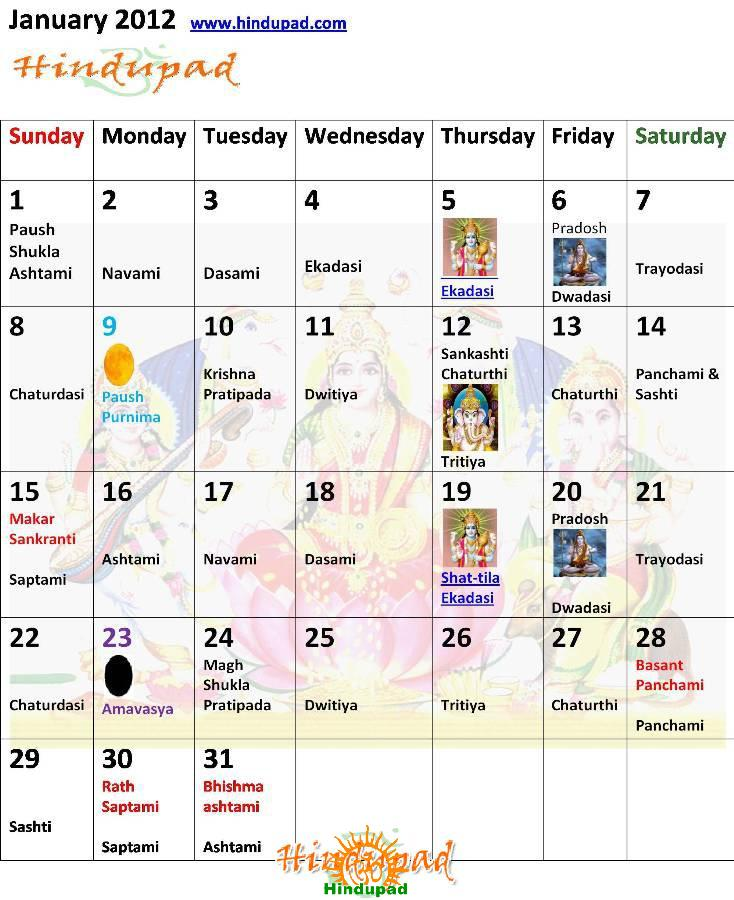 January 2012 Hindu Calendar with Tithi, Desktop Calendar January
