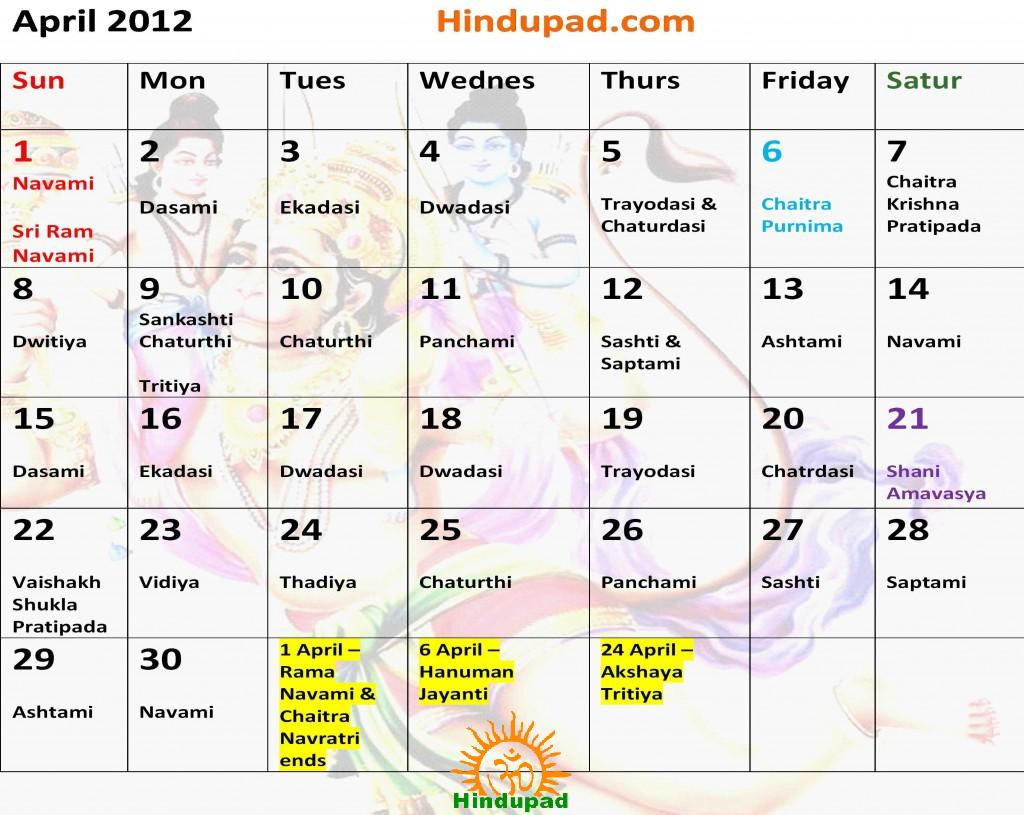 hindu calendar april
