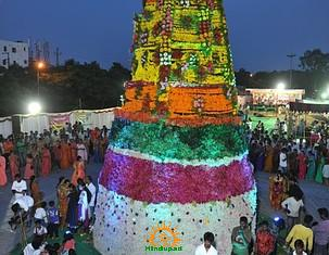 32 Feet Bathukamma at Necklace Road, Hyderabad by TV5 News Channel
