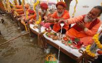 Sadhus performing puja at Kumbh Mela 2013