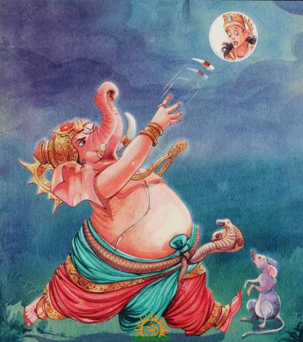 Image result for ganesh curse to moon