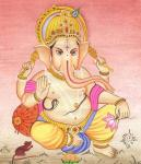 snake around ganesha stomach
