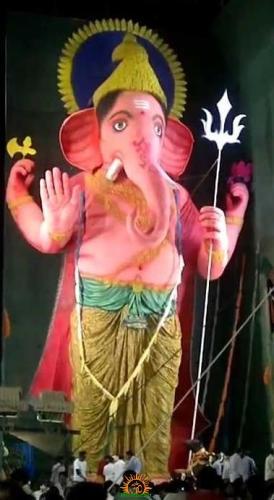 72 feet Ganesha idol at durgam cheruvu eco-friendly ganapathi