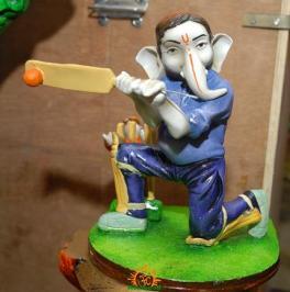 Lord Ganesha as Cricketer Batsman