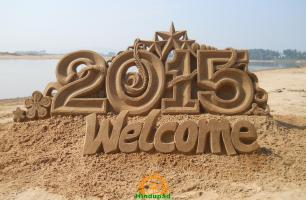 Happy New Year 2015 Sand Sculpture by Tarani Misro