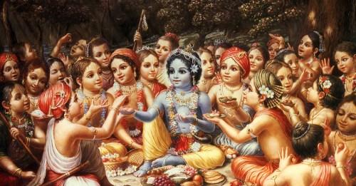 Krishna talking to friends
