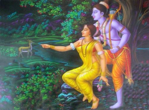 Sri Rama Deer and Sita