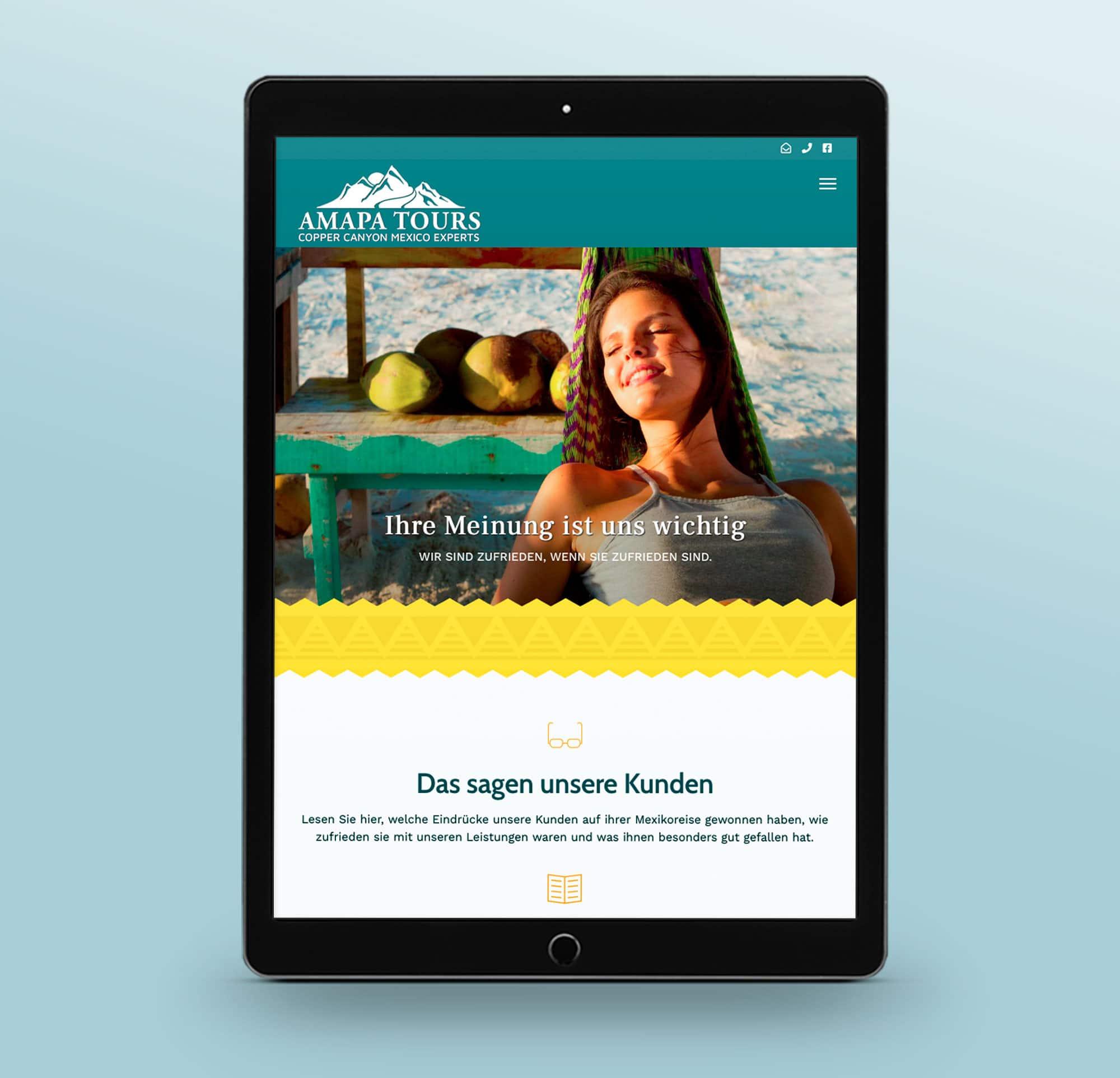 Webdesign Reiseveranstalter Tablet
