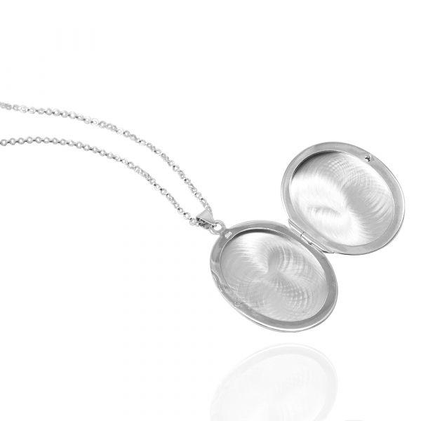 鵝卵石(大.平面)蛋型橢圓鏡面純銀項鍊銀飾(可代印放照片.可加購刻字) - Argent安爵銀飾
