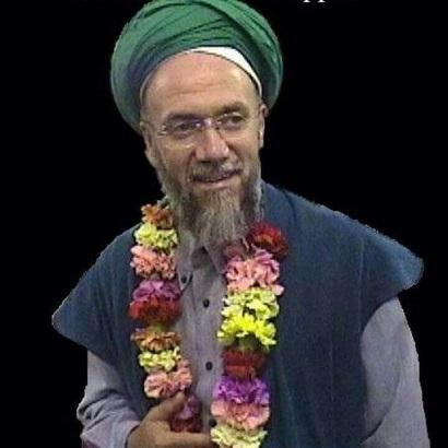 Scheich Muhammad mit Blumenkranz