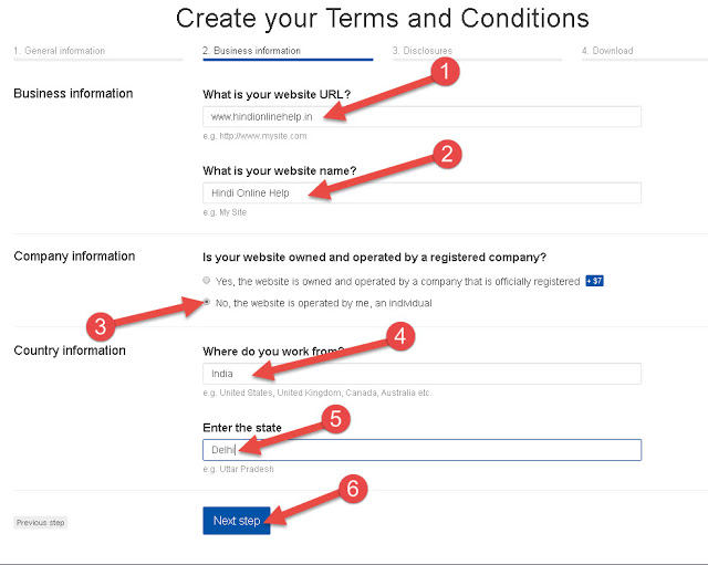 Terms and Condition Page