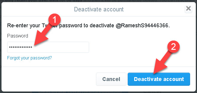 Twitter Account Deactivate