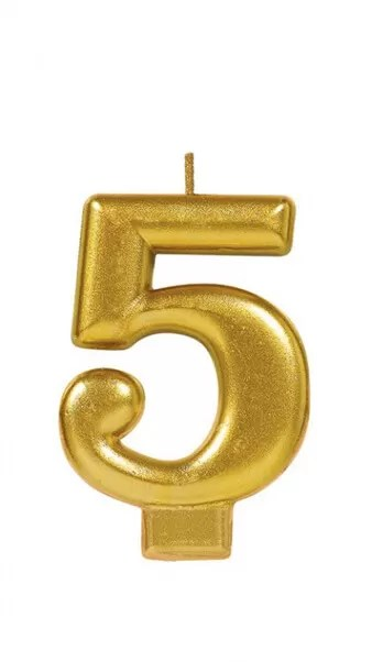 Candle Numeral Metallic Gold