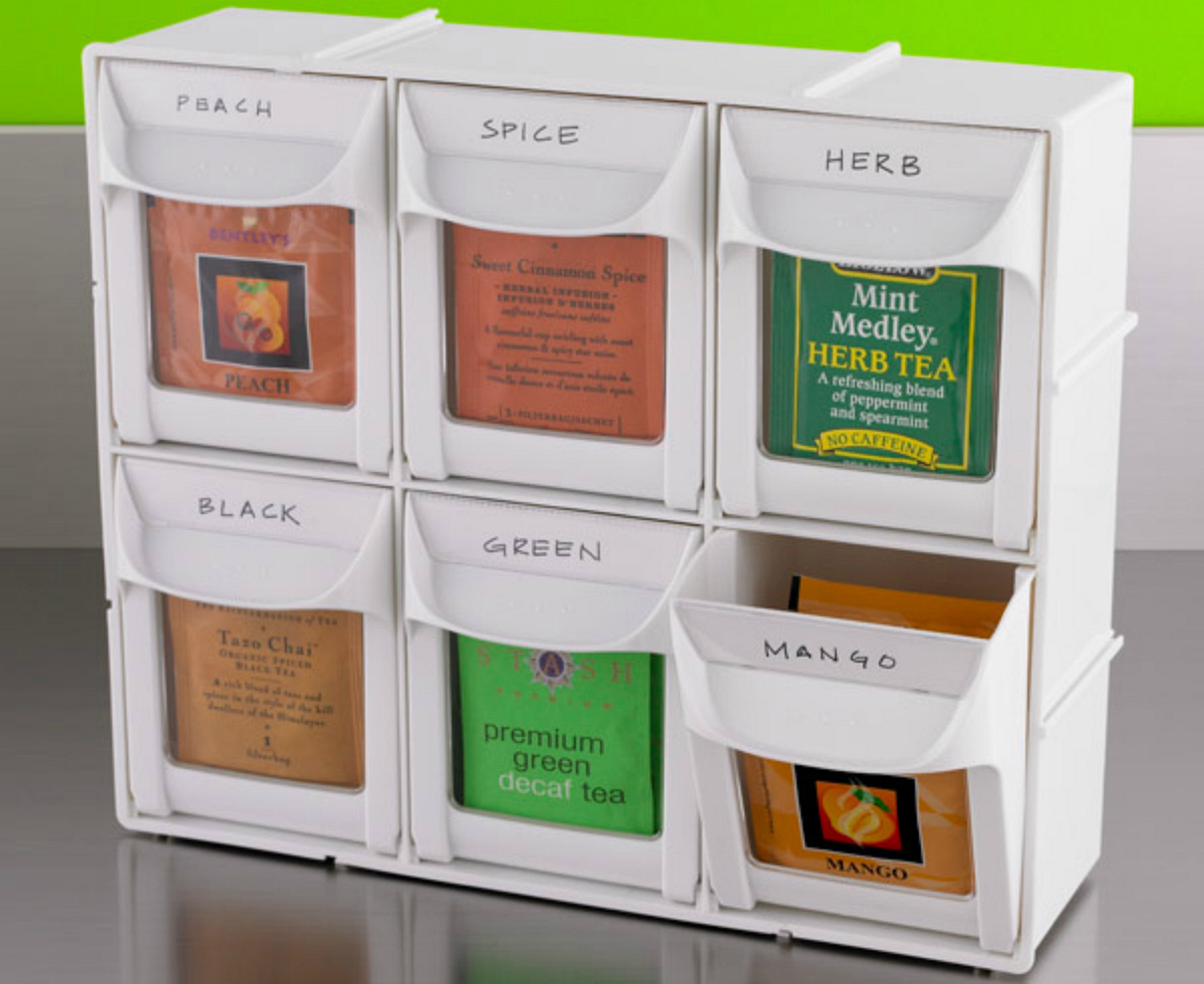 Modular Flip Out Bins labeled with different kinds of tea
