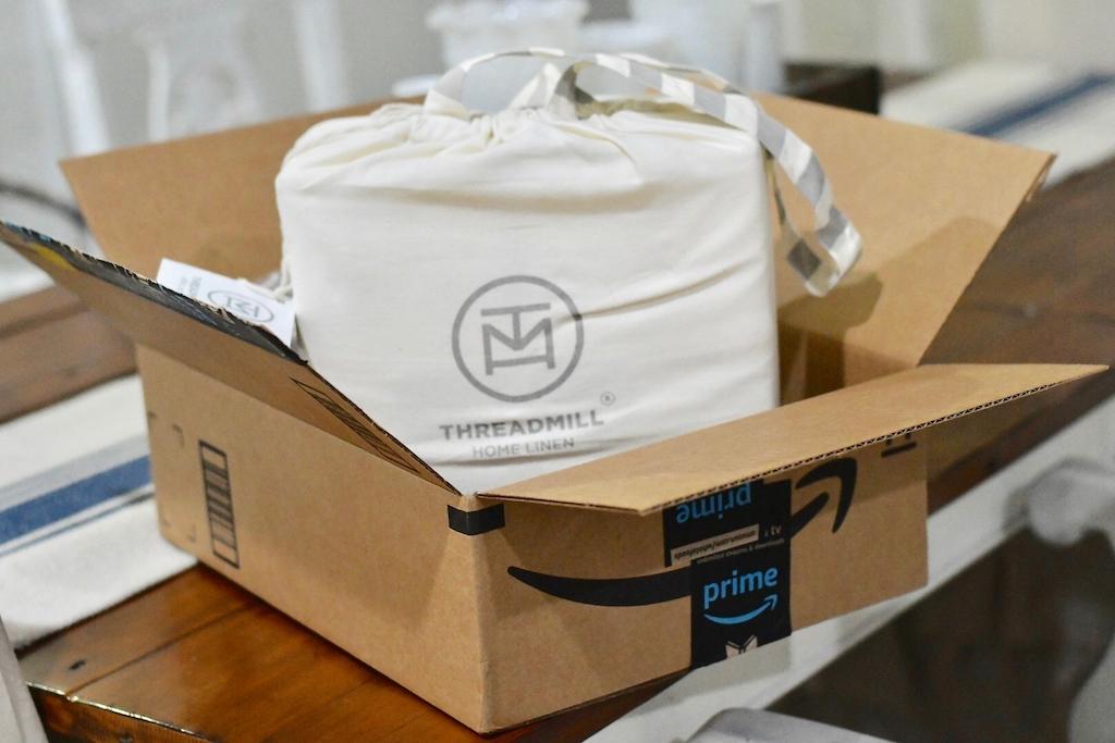 Threadmill Home Linen Sheets in Amazon Box