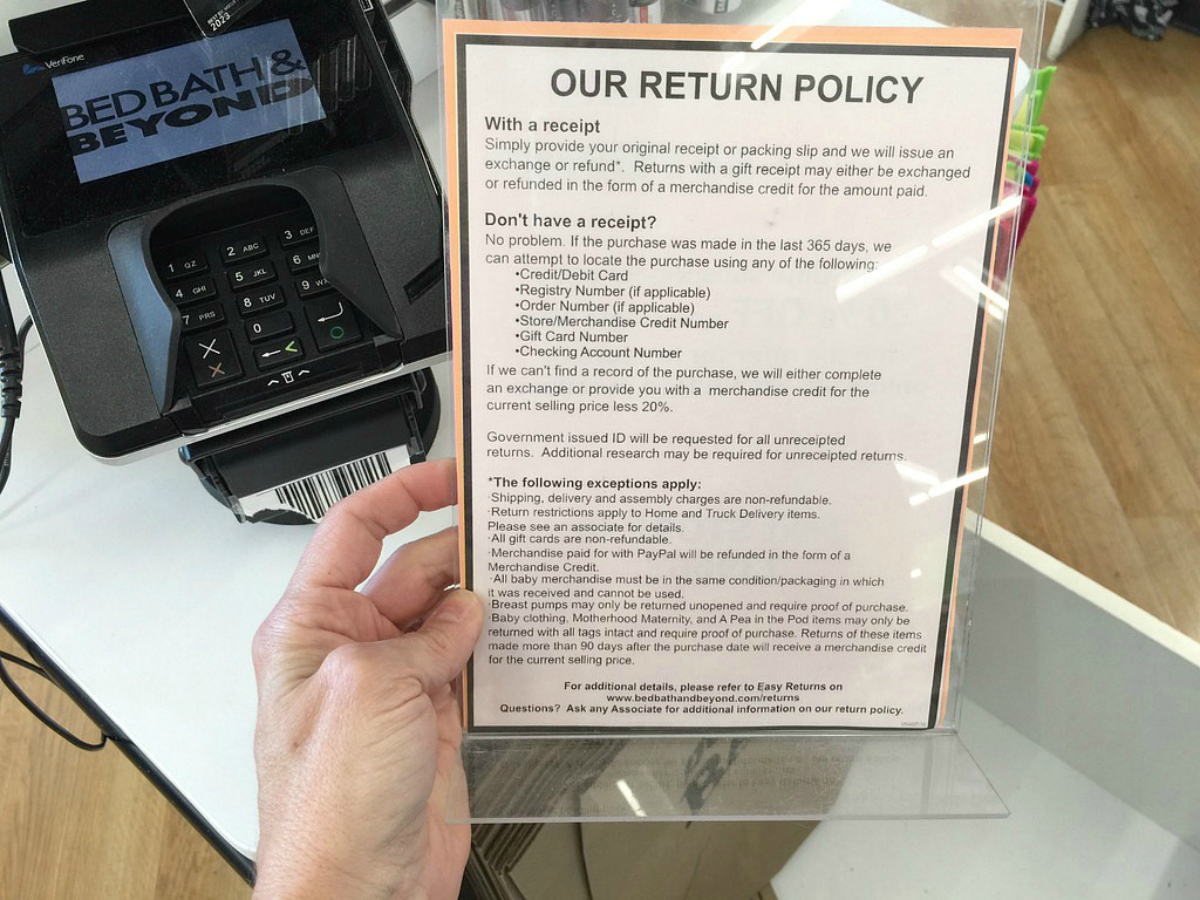 bed bath beyond return policy sign in store