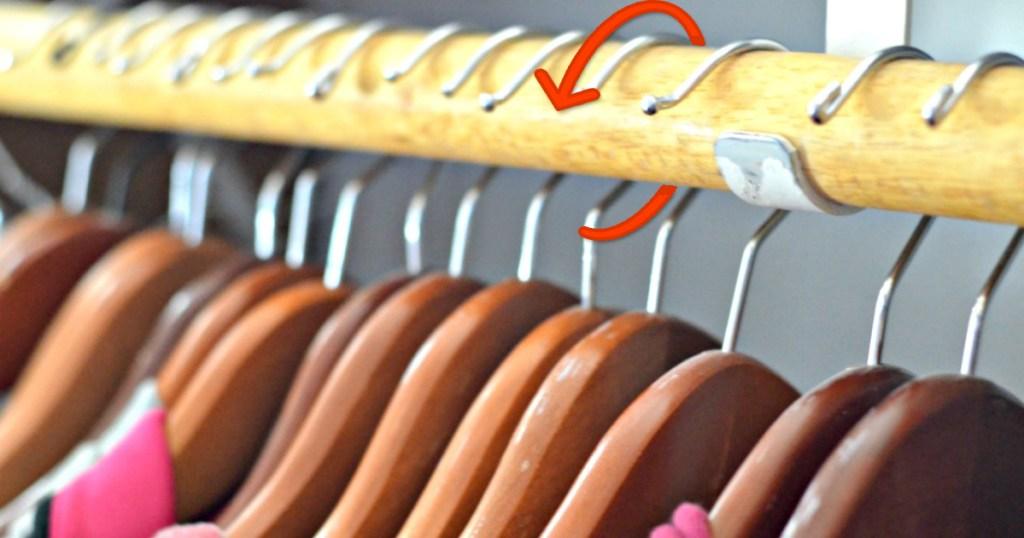 hangers on rod turned backwards