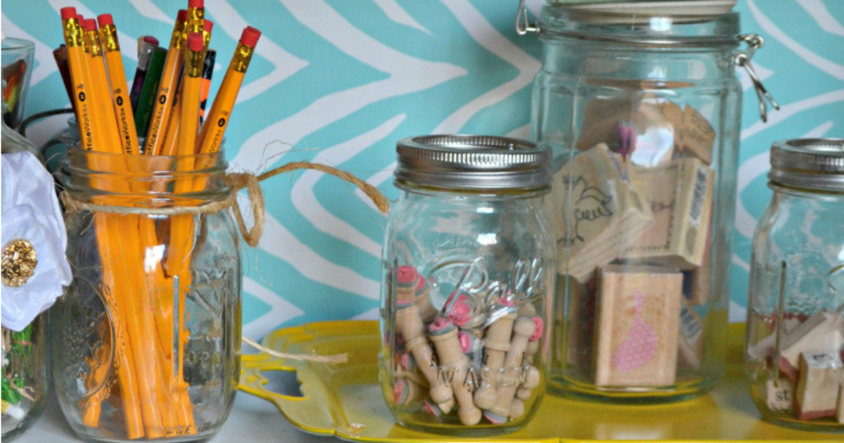 mason jars reused for pencils and stamps