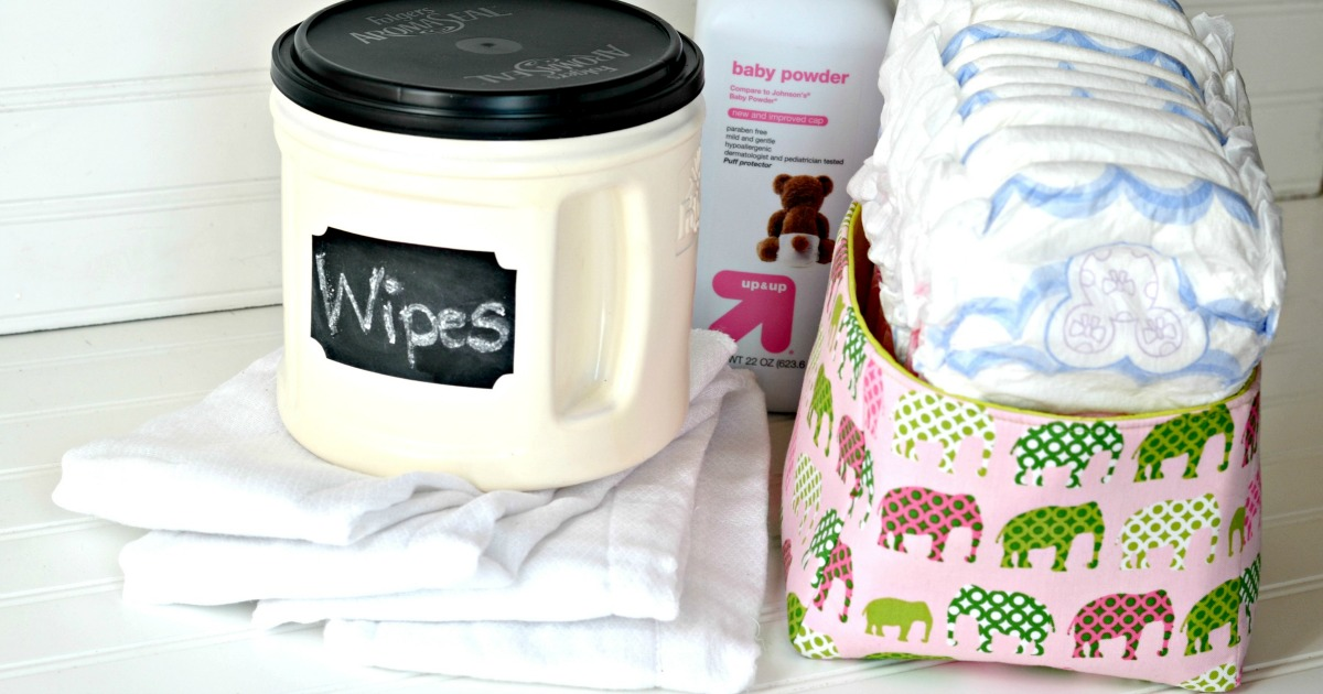 ways to repurpose trash – reusing a coffee can for diaper wipes