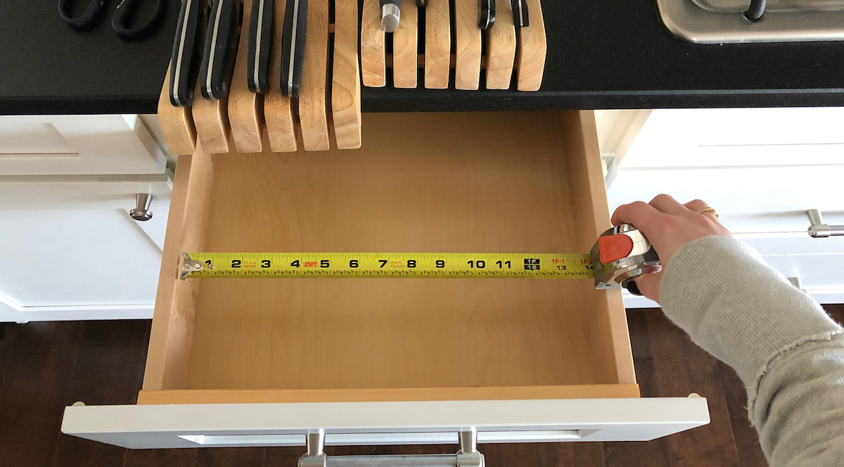 measuring the width of the drawer