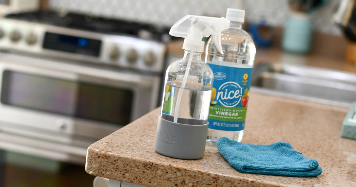 white vinegar in a squirt bottle on a kitchen counter