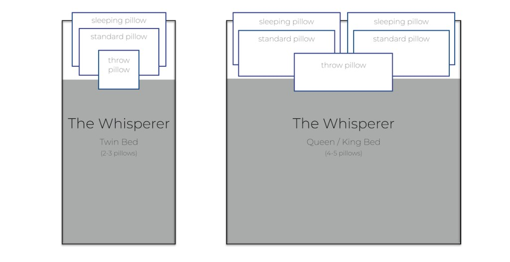 the pillow whisperer visual pillows on a bed