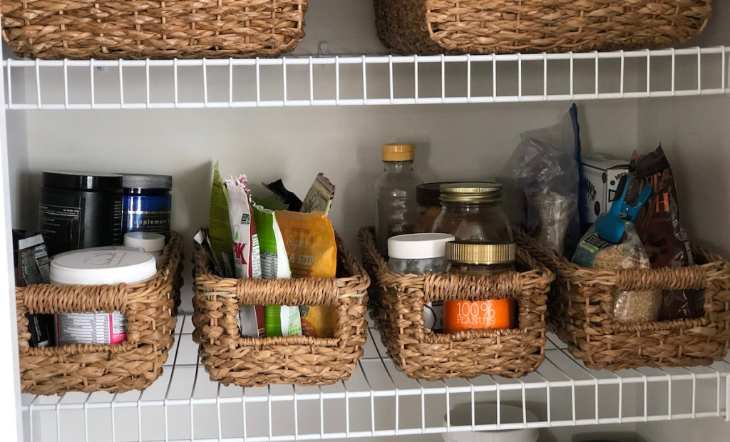 pantry food inside of wicker baskets