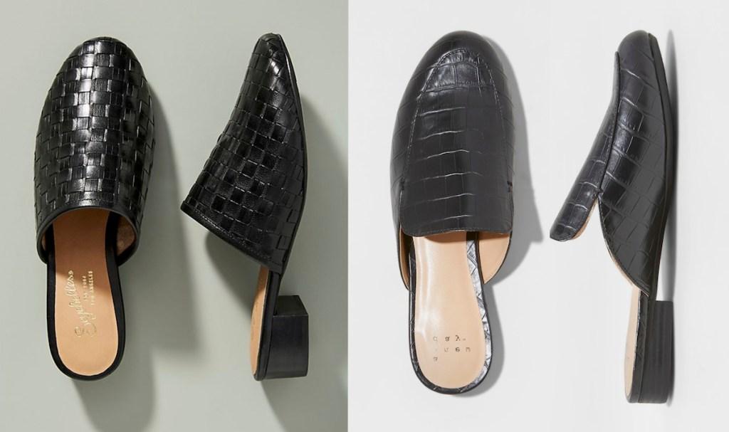 anthropologie target black woven faux snake skin mules slide on shoes