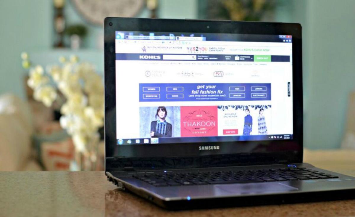 kohls shop online screen on a laptop
