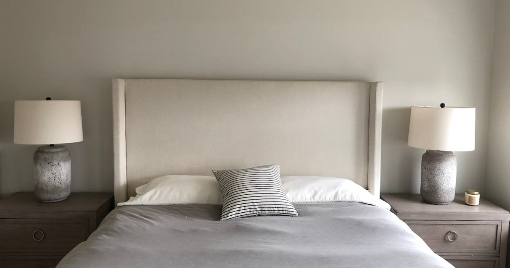 minimalist bed with three pillows