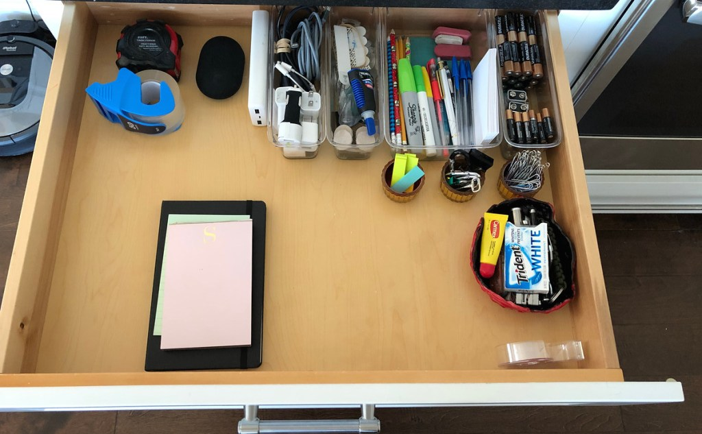 organized drawer with stuff inside