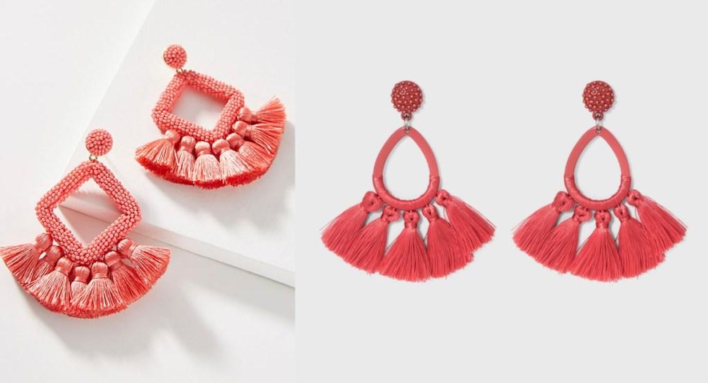 anthropologie target red tassel earrings